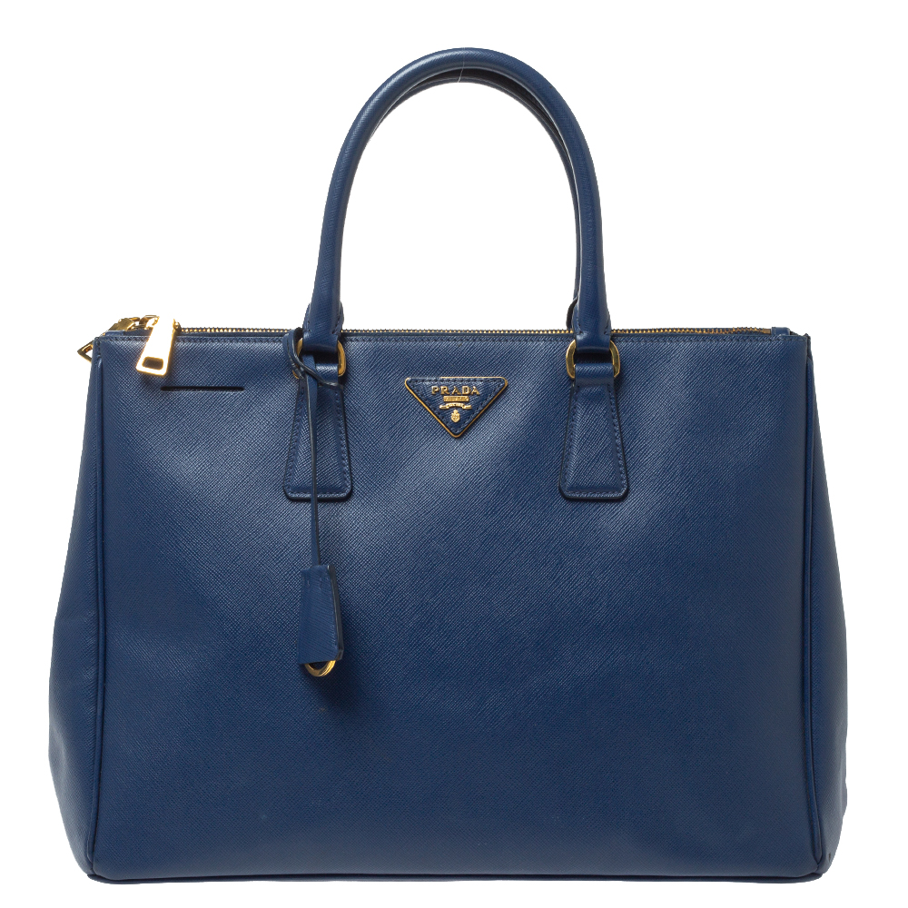 Pre-owned Prada Blue Saffiano Lux Leather Large Double Zip Tote