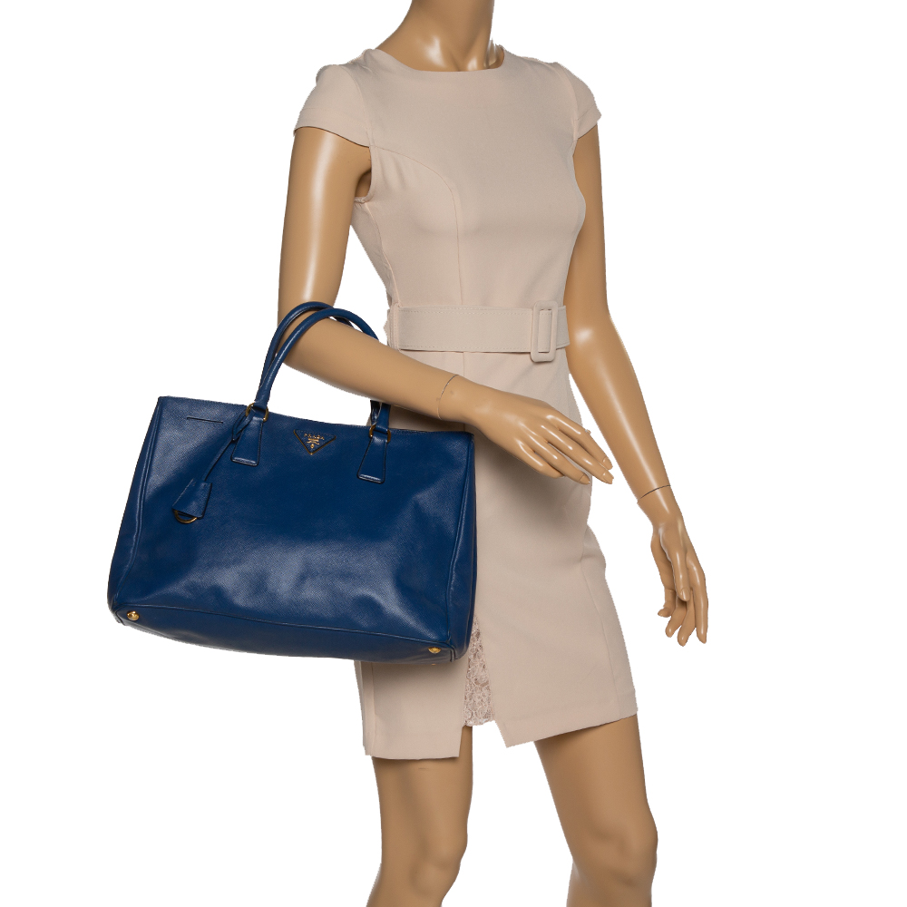 Prada Blue Saffiano Lux Leather Large Tote  - buy with discount