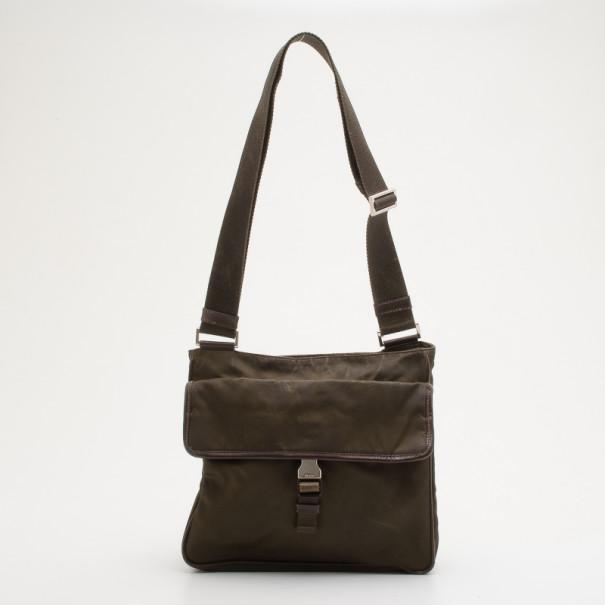 Prada Brown Nylon Crossbody Bag