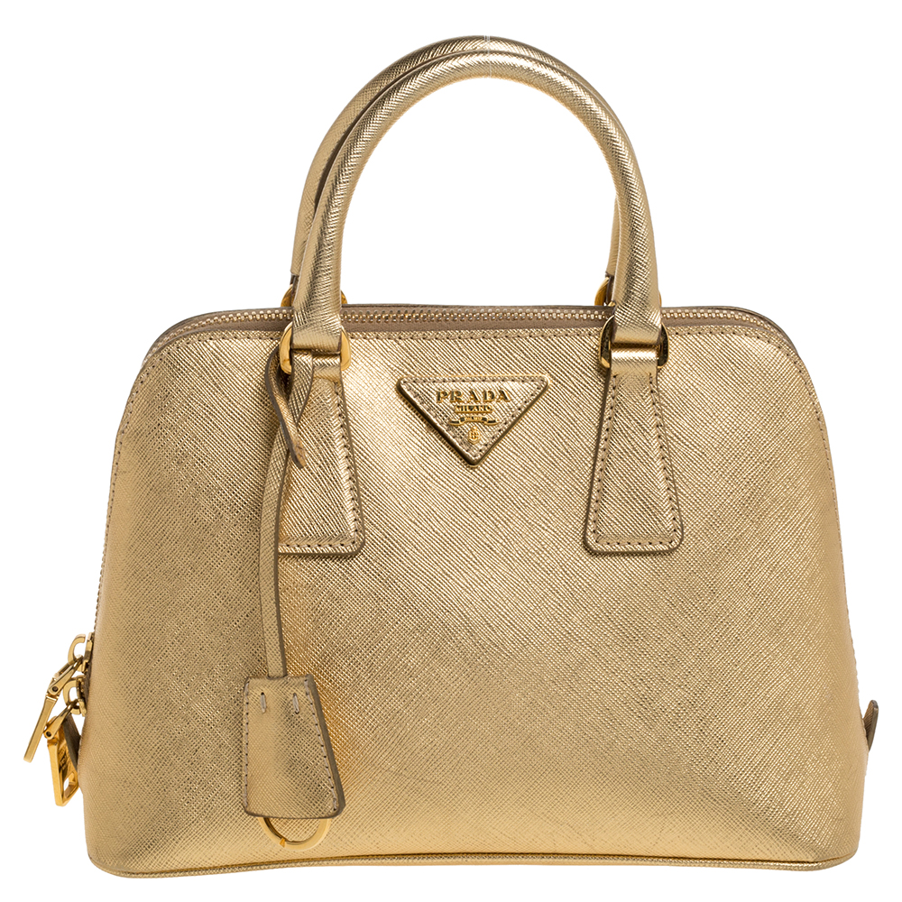 Prada Gold Saffiano Lux Leather Small Promenade Bag