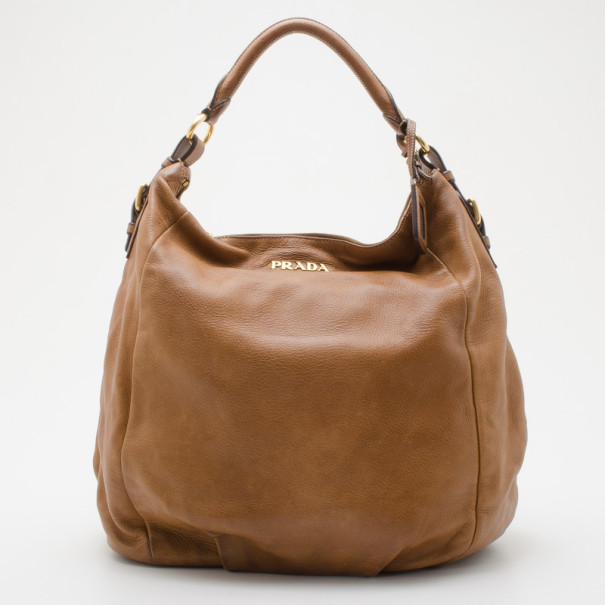 7edfe84f397e Buy Prada Large Cervo Antik Tan Hobo Bag 35311 at best price | TLC
