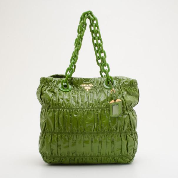 b20415ebf6 ... Prada Green Patent Vernice Gaufre Shopping Tote. nextprev. prevnext