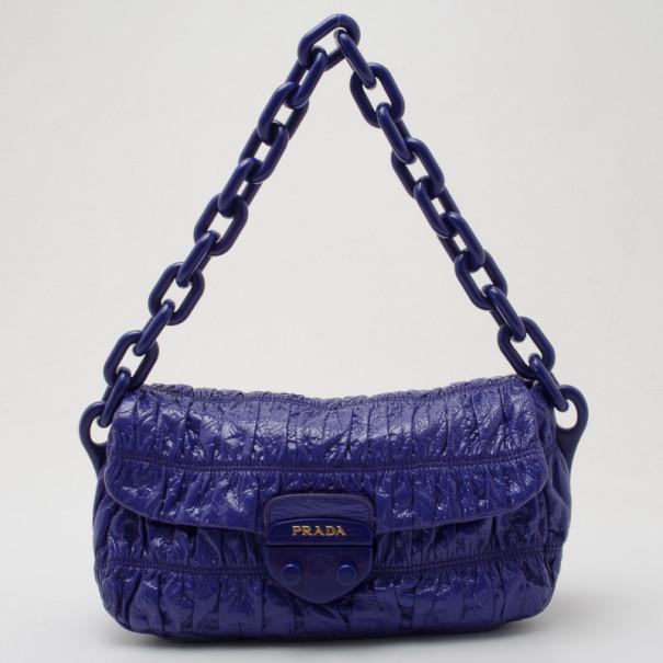 475a5159ec Buy Prada Blue Patent Vernice Gaufre Flap Bag 35968 at best price