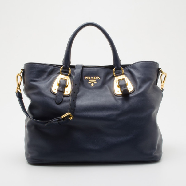 238d60856ada33 Buy Prada Navy Baltico Soft Calf Leather Tote 36089 at best price | TLC