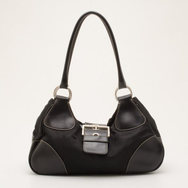 11d77c9ef Buy Prada Black Nylon Classic Buckle Hobo Bag 36763 at best price | TLC