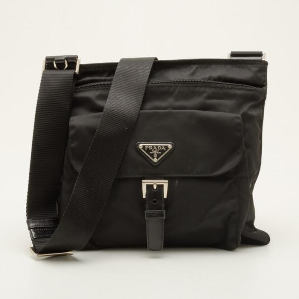 30cb7b9a3637 Buy Prada Black Vela Nylon Messenger Bag 36807 at best price | TLC