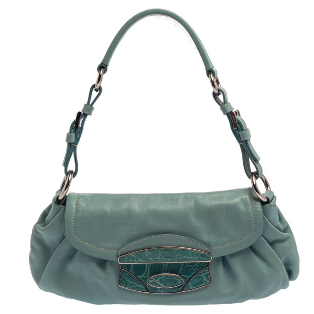 Pre-owned Prada Turquoise Leather And Crocodile Trim Pushlock Flap Baguette Bag In Blue
