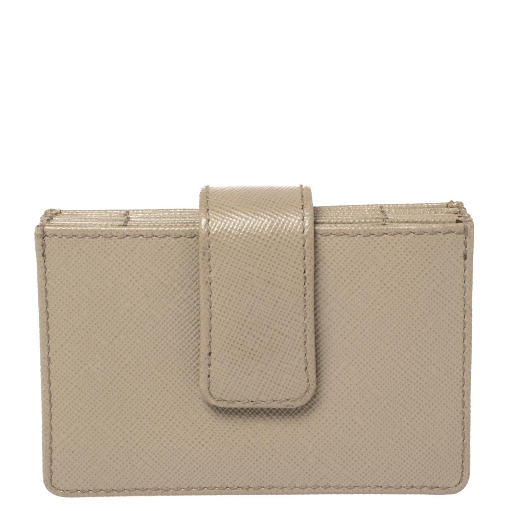 Pre-owned Prada Grey Saffiano Leather Business Card Holder