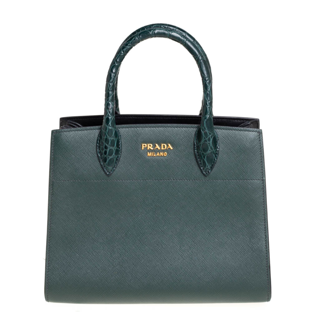 Prada Dark Green Leather and Crocodile Handle Bibliotheque Tote