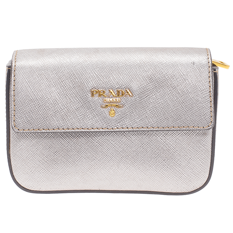 68e00619f9 Prada Silver Saffiano Leather Mini Box Clutch