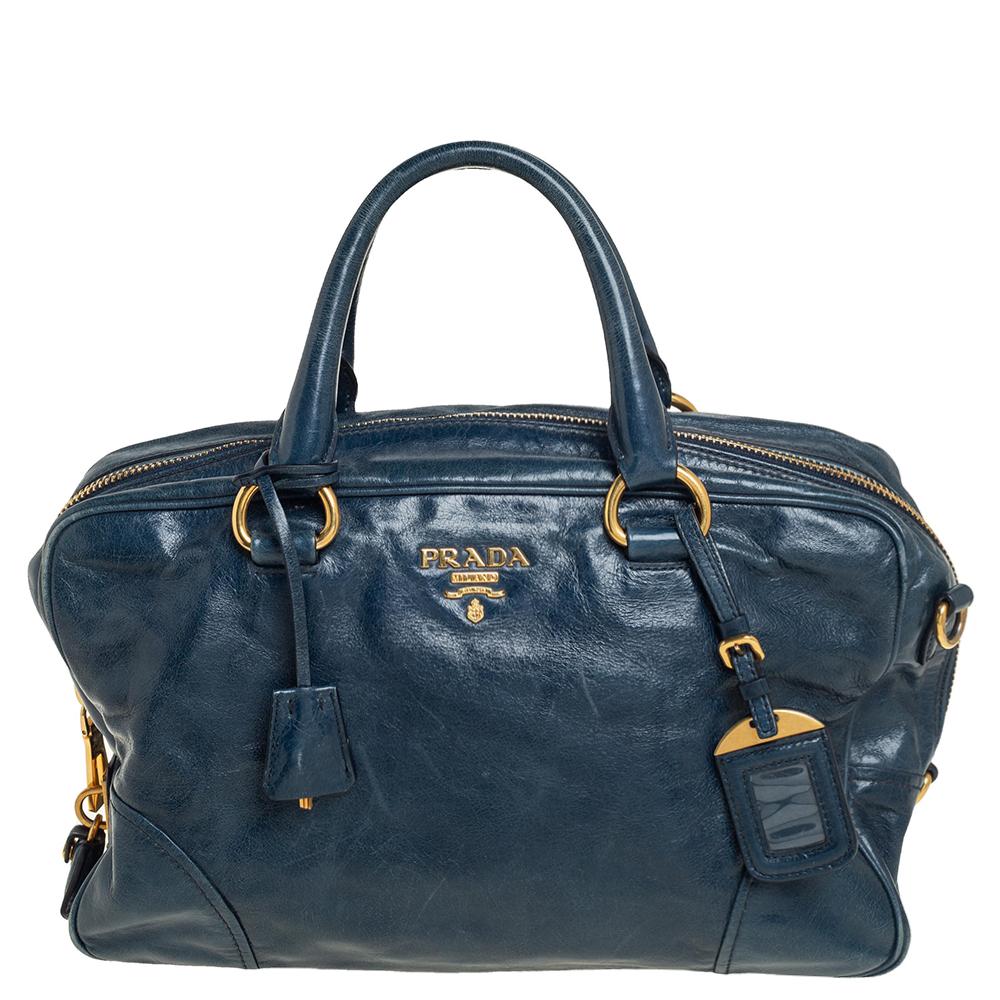 Pre-owned Prada Dark Teal Blue Vitello Shine Leather Boston Bag