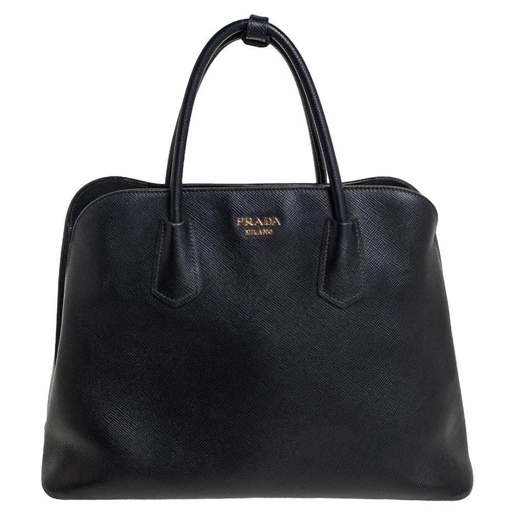 Pre-owned Prada Black Saffiano Cuir Leather Dome Satchel