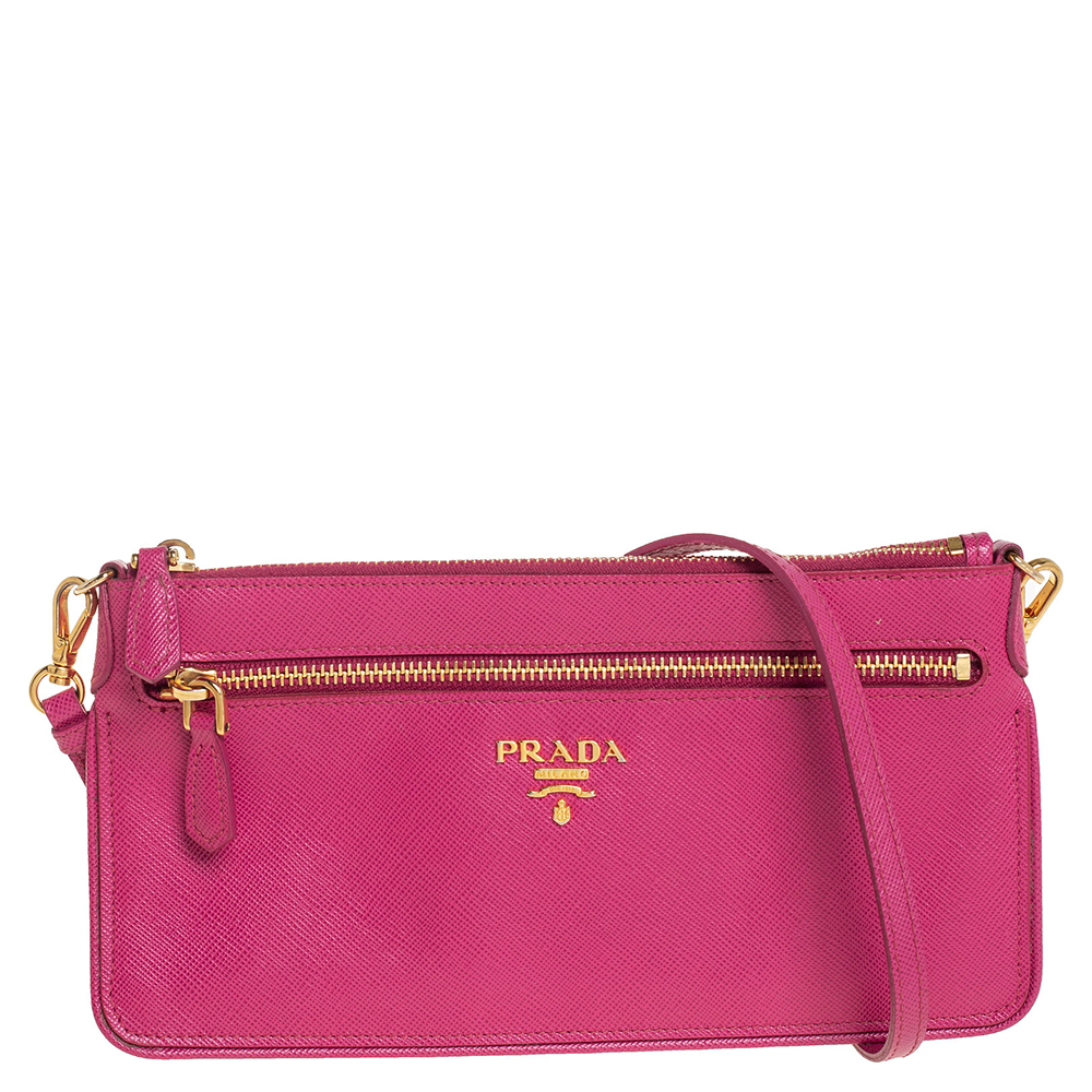 Pre-owned Prada Pink Saffiano Leather Wallet On Chain