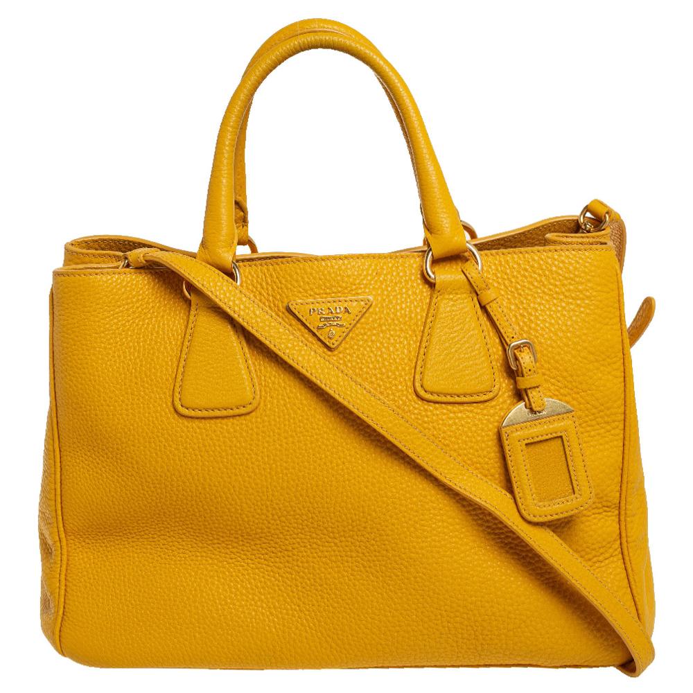 Pre-owned Prada Yellow Vitello Daino Leather Open Tote