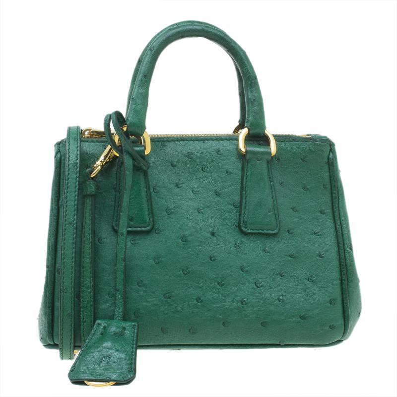 5c34866078d ... Prada Green Ostrich Leather Mini Double Zip Crossbody Bag. nextprev.  prevnext