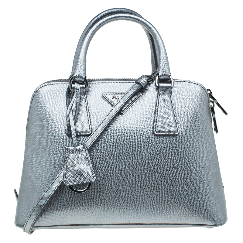 f0b881be4 ... Prada Silver Saffiano Leather Small Vernice Promenade Top Handle Bag.  nextprev. prevnext