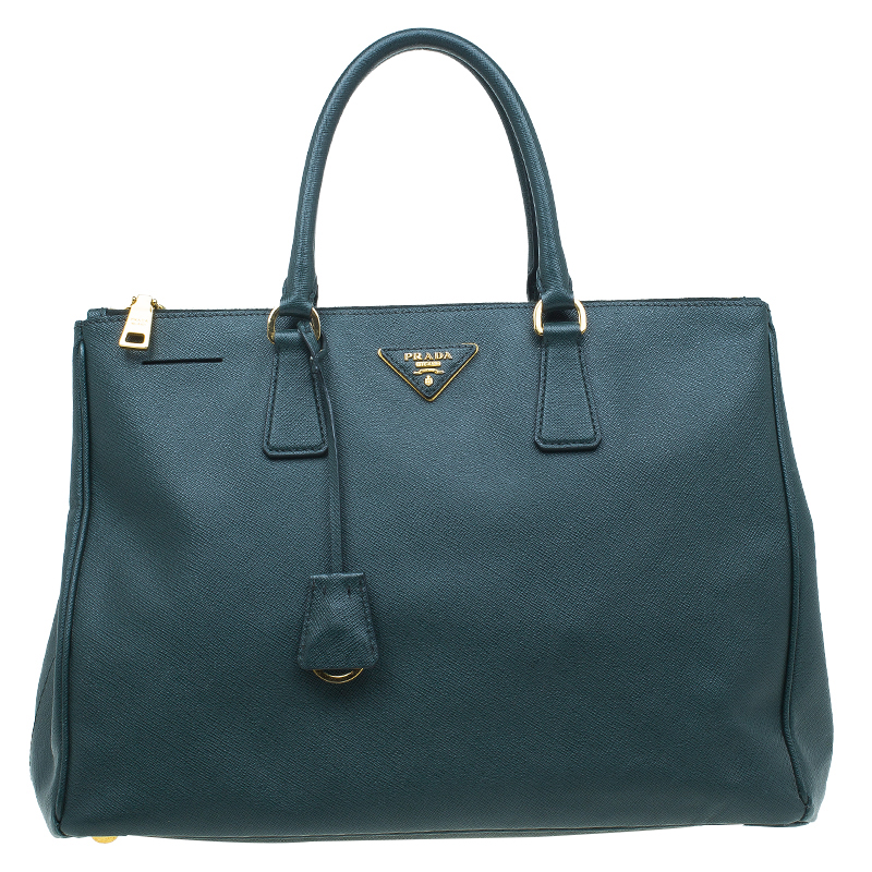 60d06583faf7 ... Prada Dark Green Saffiano Lux Leather Medium Double Zip Tote. nextprev.  prevnext