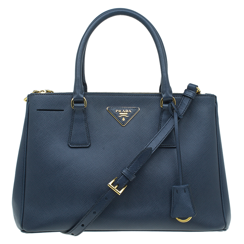 597cbaeebe Buy Prada Navy Blue Saffiano Lux Leather Small Double Zip Tote 53611 at  best price