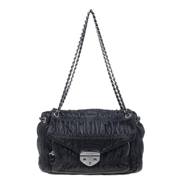 b2defd7a7f13e ... Prada Black Ruched Nappa Leather Chain Detail Shoulder Bag. nextprev.  prevnext