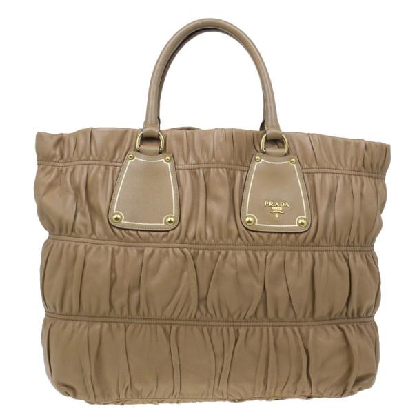 507585ea93b0 Buy Prada Beige Leather Large Nappa Gaufre Tote 5655 at best price