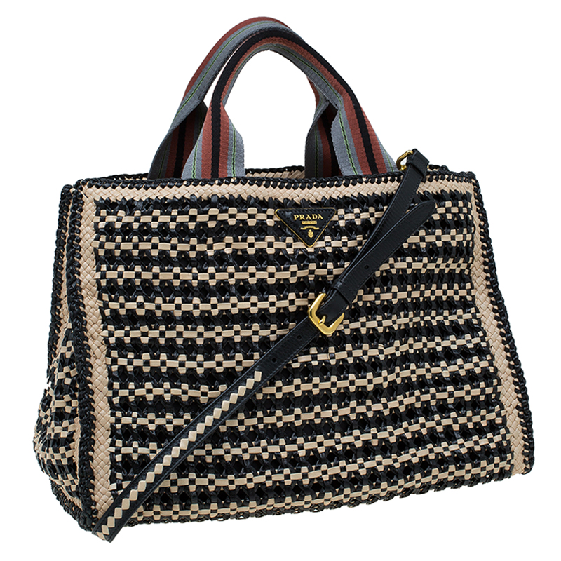 e39768710e ... Prada Beige Black Woven Goatskin Leather Madras Tote. nextprev. prevnext