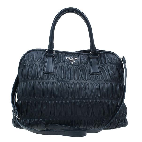 Prada Fuoco Nappa Gaufre Leather Double Handle Tote Bag