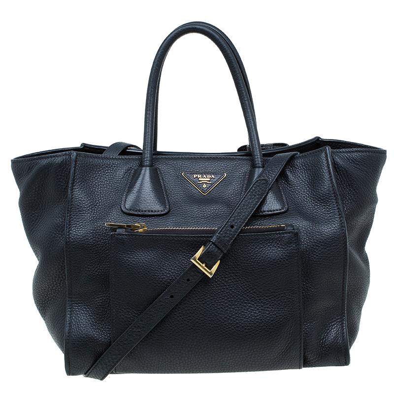 52f2e16f958d ... Prada Black Vitello Phenix Leather Shopping Tote. nextprev. prevnext