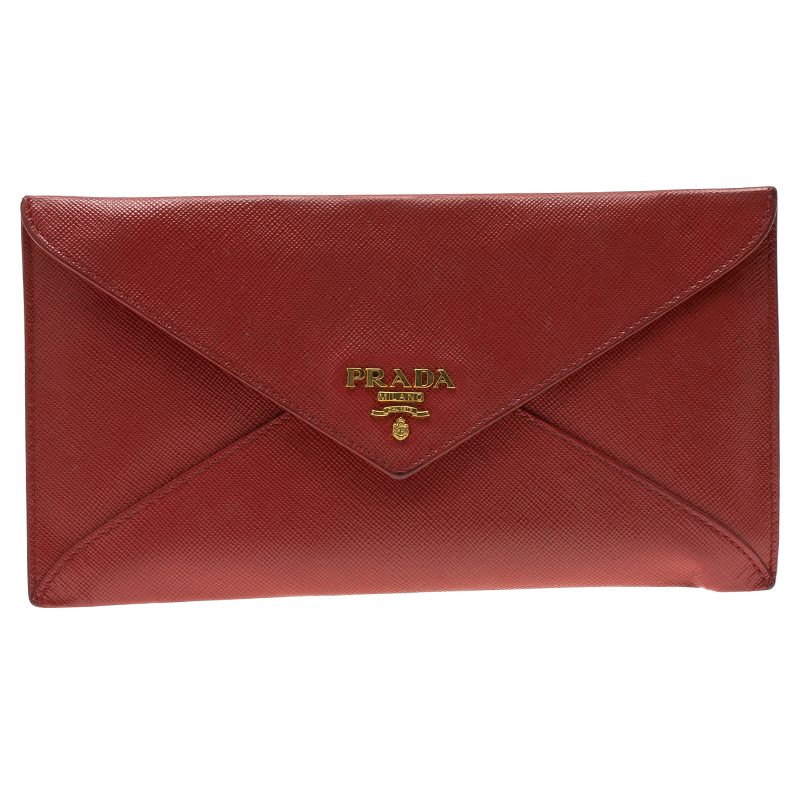 f603b4491417 Buy Prada Red Saffiano Leather Envelope Wallet 87100 at best price