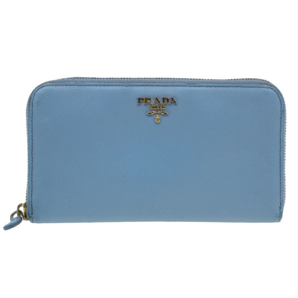 f2e892a9613e Buy Prada Light Blue Saffiano Metal Oro Side-Zip Wallet 9002 at best price  | TLC