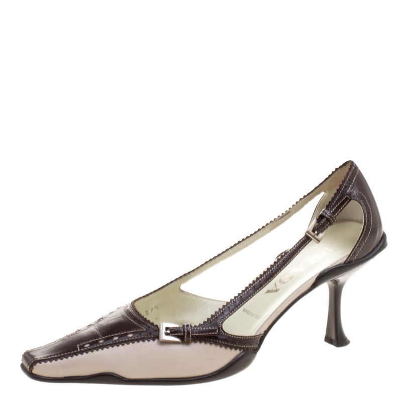 a9560925ab93b ... Prada Two Tone Leather Pointed Toe Kitten Heel Pumps Size 37.5.  nextprev. prevnext