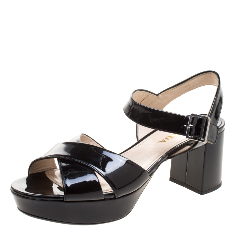 b069b2e76acf5 Buy Prada Black Patent Leather Criss Cross Ankle Strap Block Heel ...
