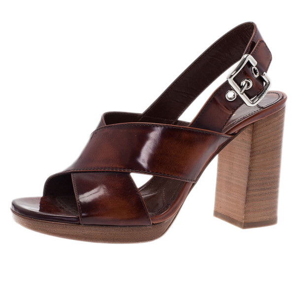 4b12dc43c7e0 ... Prada Brown Leather Criscross Block Heel Slingback Sandals Size 38.  nextprev. prevnext