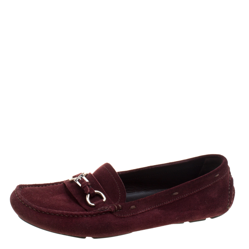 Buy Prada Bordeaux Suede Loafers Size 39.5 119880 at best price  14331960f