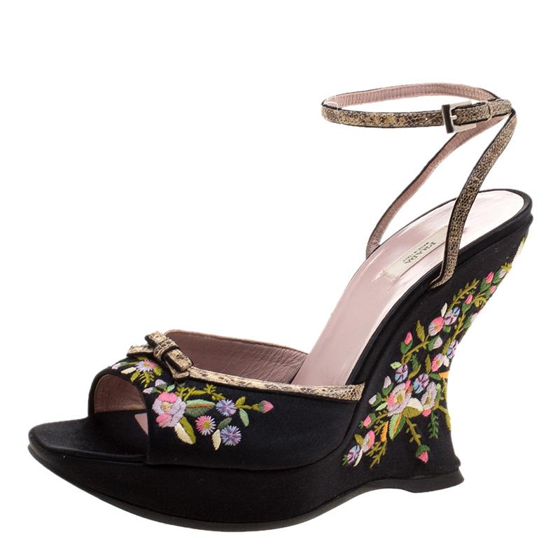 8027f15d00 Prada Black Floral Embroidered Satin Peep Toe Wedge Sandals Size 37