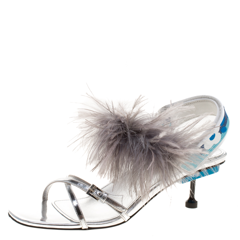 20626058399 Buy Prada Metallic Silver Leather with Ostrich Feathers Trim Strappy ...