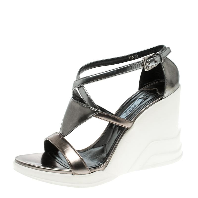 Buy Prada Sandals Silver Cross Wedge Strap Metallic Leather Size 1TFK3uJcl5