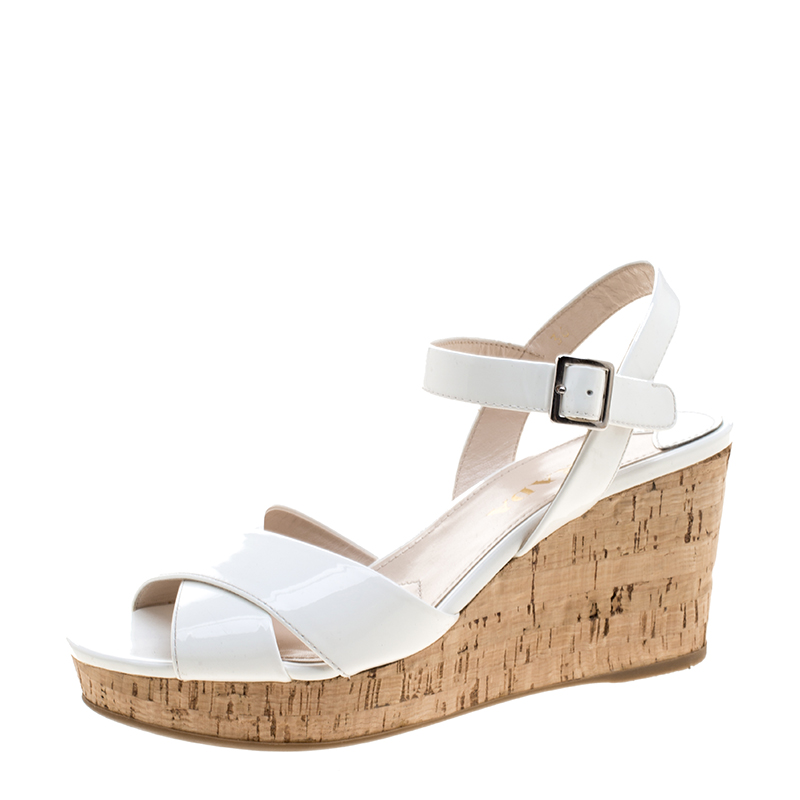 b193386698f ... Prada White Patent Leather Criss Cross Ankle Strap Cork Wedge Sandals  Size 36. nextprev. prevnext