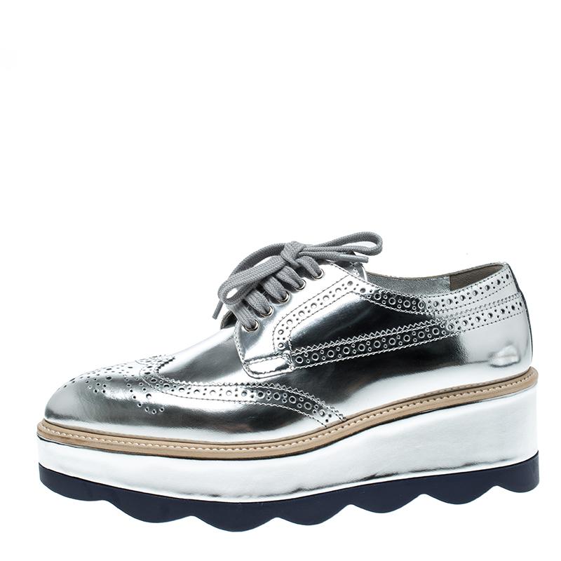 Prada Metallic Silver Brogue Leather