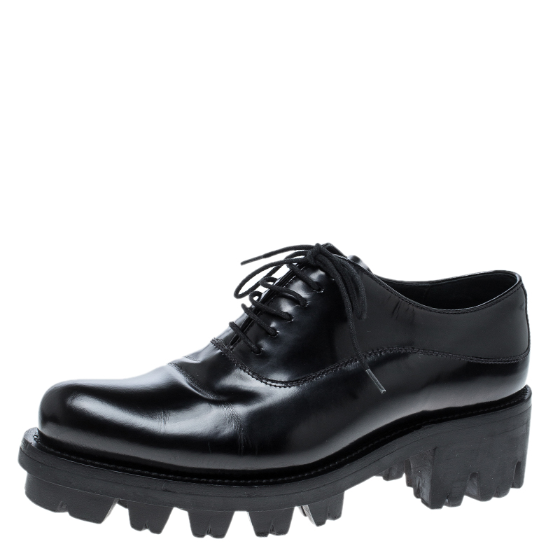 Prada Black Leather Lug-Sole Platform