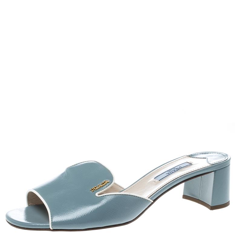 93fb24670e9 ... Prada Powder Blue Patent Saffiano Leather Block Heel Slides Size 39.  nextprev. prevnext