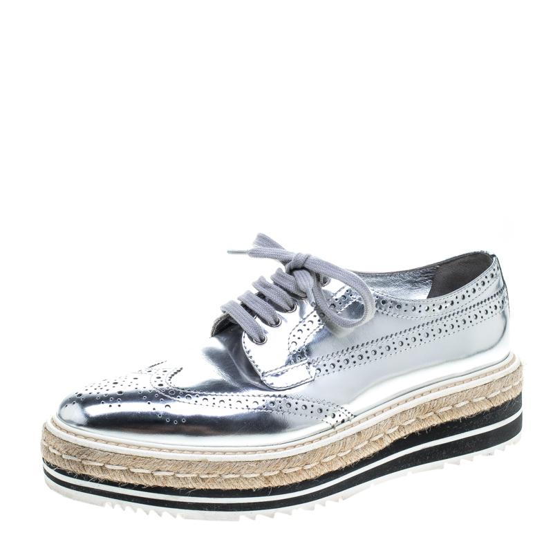 3d28ca38d8 ... Prada Metallic Silver Brogue Leather Wave Wingtip Espadrille Platform  Derby Sneakers Size 39.5. nextprev. prevnext