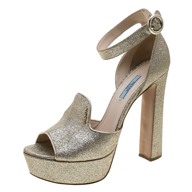 342ed22bb96 ... Prada Gold Glitter Ankle Strap Block Heel Platform Sandals Size 41.5.  nextprev. prevnext