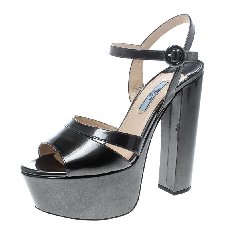 19edeb0b3a5 ... Prada Green Patent Leather Ankle Strap Block Heel Platform Sandals Size  38.5. nextprev. prevnext