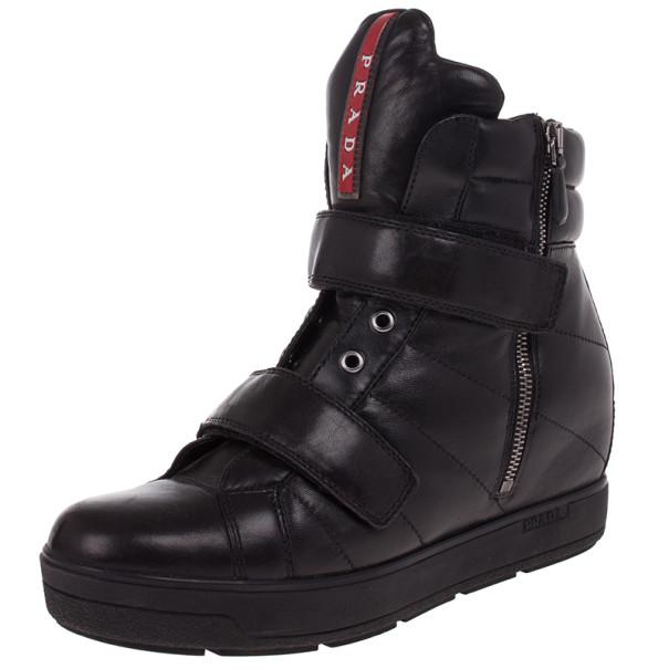 0fa7851bd2eb ... Prada Sport Black Leather High Top Wedge Sneakers Size 38. nextprev.  prevnext
