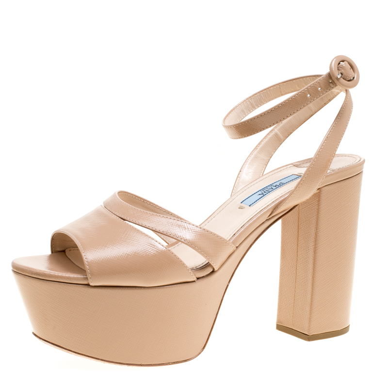 cf3432500bf Buy Prada Beige Patent Saffiano Leather Ankle Strap Block Heel ...