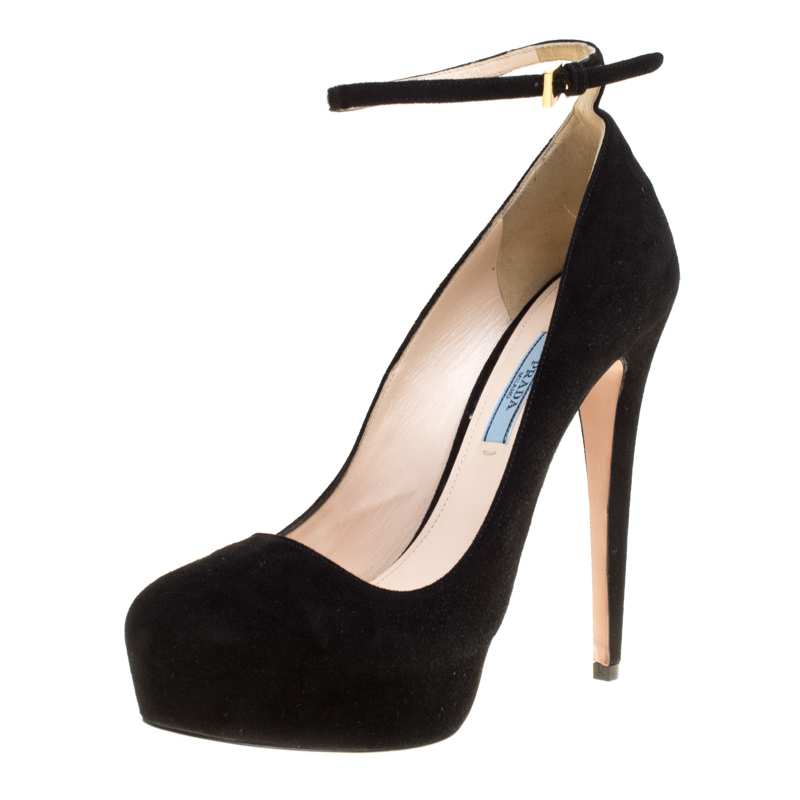 7d63b705dd5 Prada Black Suede Ankle Strap Platform Pumps Size 38