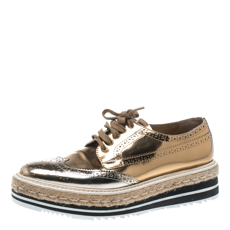 28dab3c0 Prada Metallic Gold Brogue Leather Wave Wingtip Espadrille Platform Derby  Sneakers Size 38