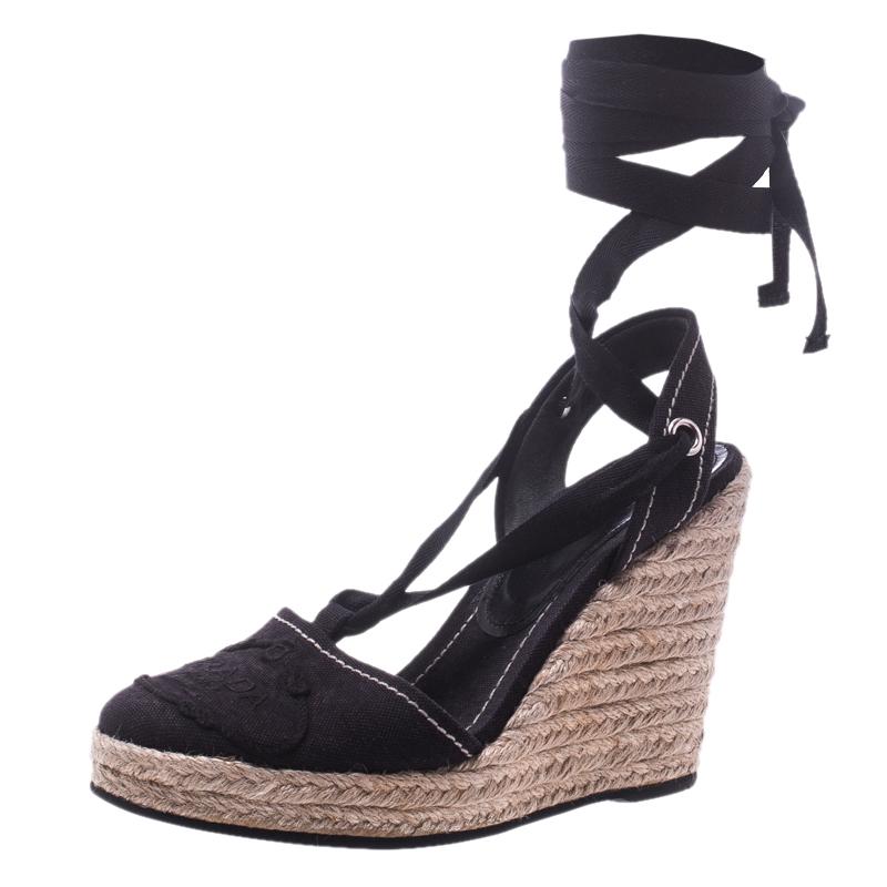 1ba8f979fa Prada Navy Blue Canvas Espadrilles Wedge Sandals Size 37 153823