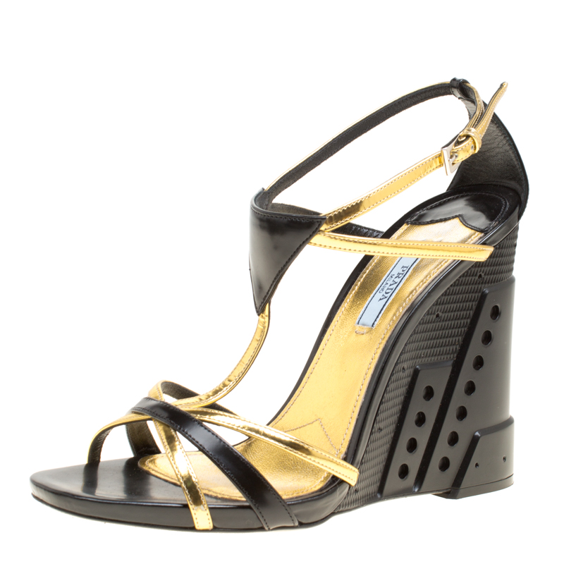 af11f380131 Prada Black/Gold Leather Retro Futuristic Ankle Strap Geometric Wedge  Sandals Size 40