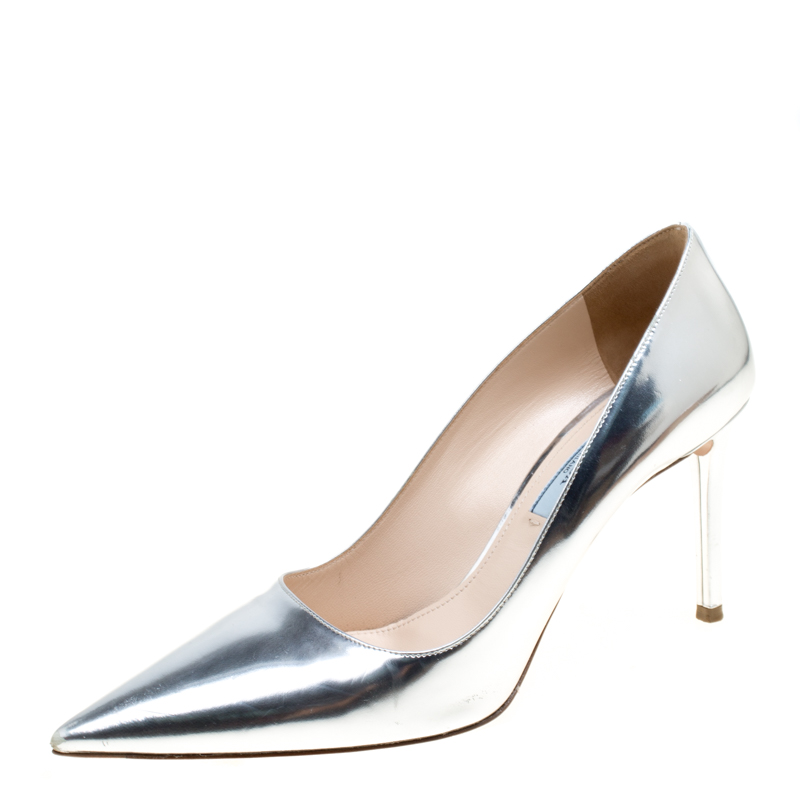 ce02cc9774db1 Prada Metallic Silver Leather Pointed Toe Pumps Size 38.5